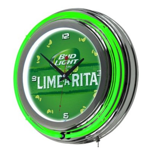 Bud Light Chrome Double Ring Neon Clock (Assorted Styles) [style : ; OriginalStyle : :Lime]