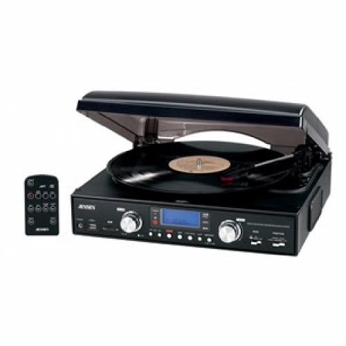 Jensen JTA-460 3-Speed Stereo Turntable with MP3 Encoding System and AM/FM Stereo Radio (Black)