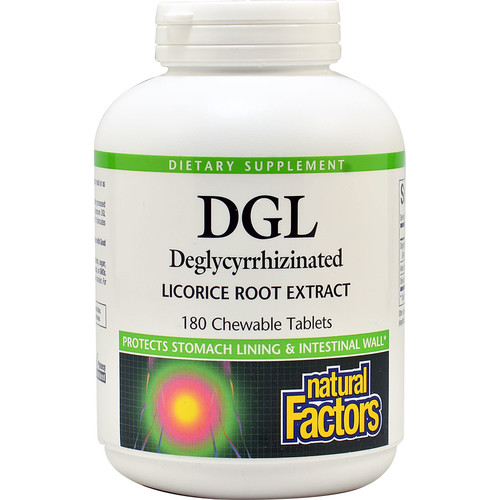 Natural Factors DGL Deglycyrrhizinated Licorice Root Extract -- 180 Chewable Tablets