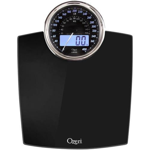 Ozeri ZB19 Rev Digital Bathroom Scale with Electro-Mechanical Weight Dial, Black [Black]