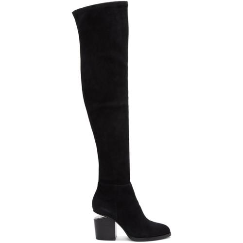 ALEXANDER WANG Black Suede Gabi Over-The-Knee Boots