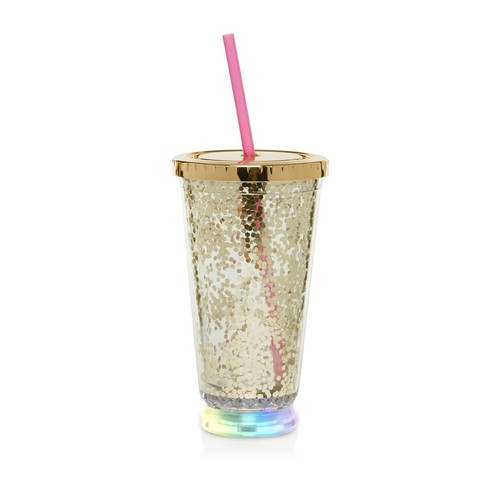 Gold LED Glitter 16oz. Cup with Straw
