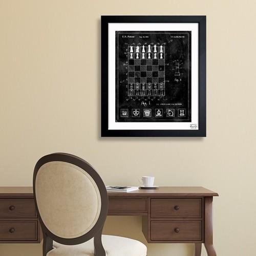 Oliver Gal 'Chess Game and Method 2000' Framed Blueprint Art [option : 26x32]