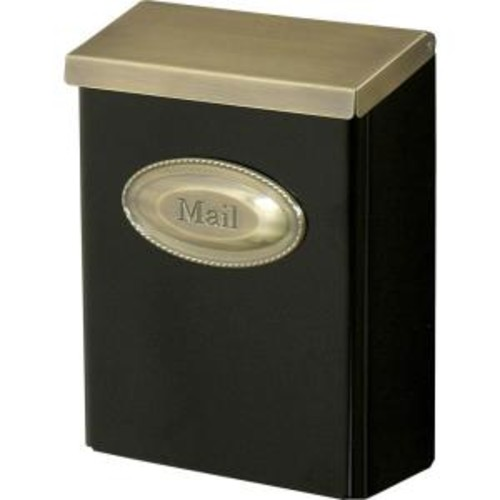Gibraltar Mailboxes Designer Black Vertical Wall-Mount Locking Mailbox with Brushed Brass Decorative Emblem and Lid