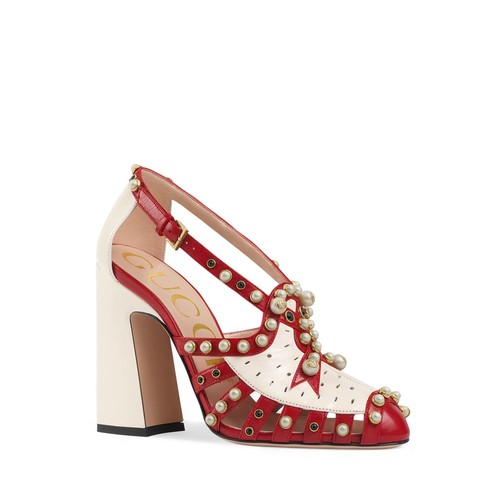GUCCI Tracy Embellished Ankle Strap Pumps