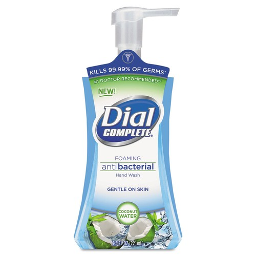 Dial Professional Antimicrobial Foaming Hand Soap, Coconut Waters, 7.5 oz Pump Bottle, 8/Carton | PJP Marketplace