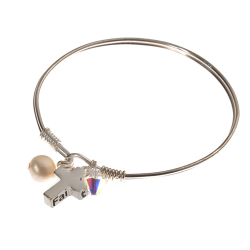 Silver Plated Faith and Cross Charm Bangle Bracelet