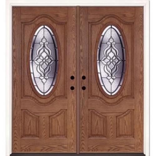 Feather River Doors 74 in. x 81.625 in. Lakewood Patina 3/4 Oval Lite Stained Medium Oak Left-Hand Fiberglass Double Prehung Front Door