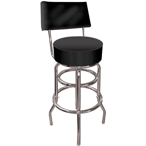Trademark Global High Grade Black Padded Bar Stool with Back
