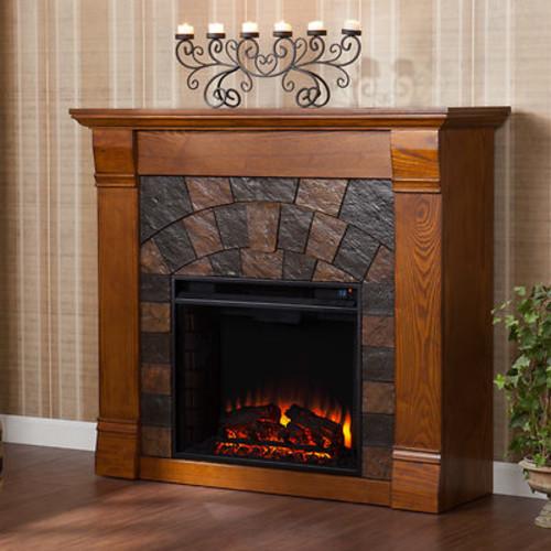 SEI Winter Haven Electric Fireplace - Salem Antique Oak