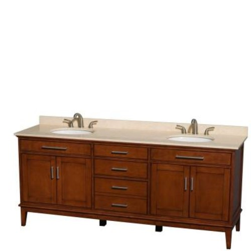 Wyndham Collection Hatton 80 in. Double Vanity in Light Chestnut with Marble Vanity Top in Ivory and Oval Sinks