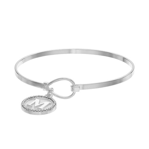 Silver Plated Crystal Initial Charm Bangle Bracelet