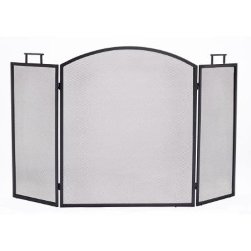 Pleasant Hearth Classic Black Steel 3-Panel Fireplace Screen