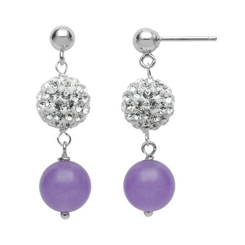 Sterling Silver Simulated Crystal & Lavender Jade Ball Linear Drop Earrings