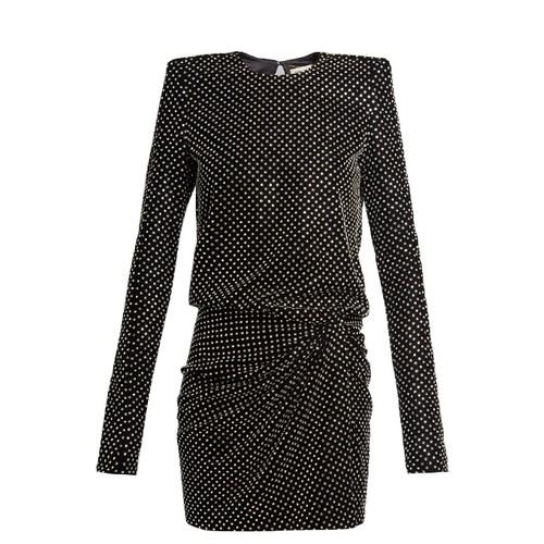 Crystal-embellished square-shoulder dress