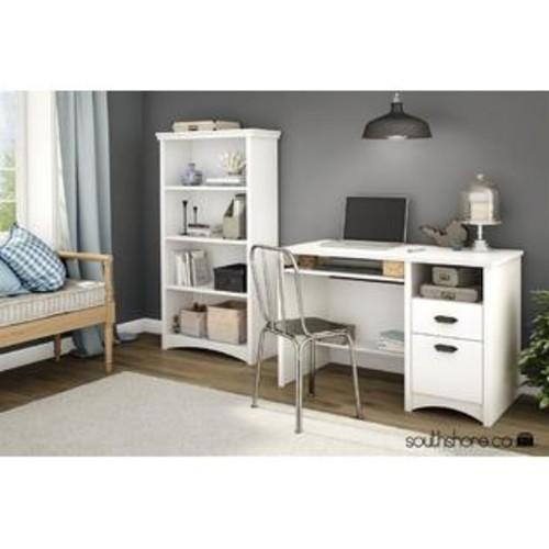 South Shore 4-Shelf Bookcase in Pure White Finish