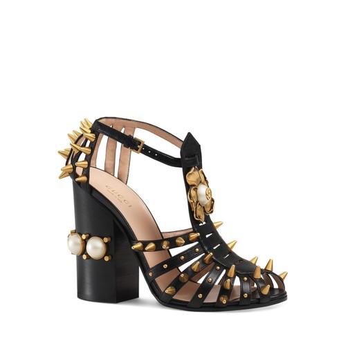 GUCCI Kendall Spiked Block Heel Sandals