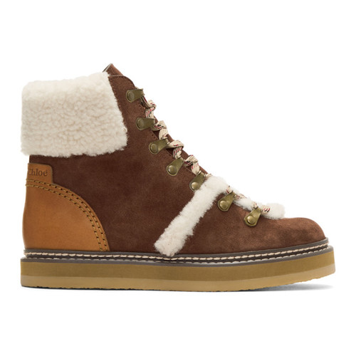 Brown Shearling Eileen Boots