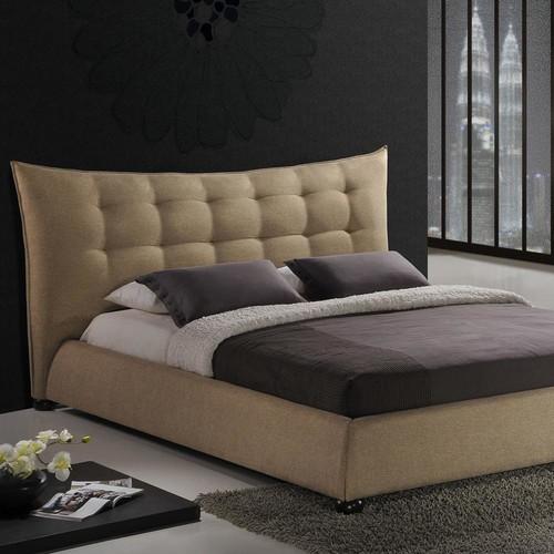 Baxton Studio Marguerite Dark Beige Linen Modern Platform Bed - King Size