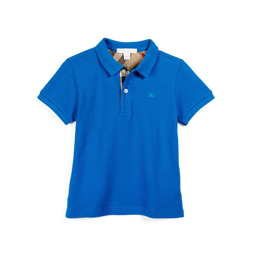 BURBERRY Short-Sleeve Cotton Polo Shirt, Bright Opal, Size 4-14