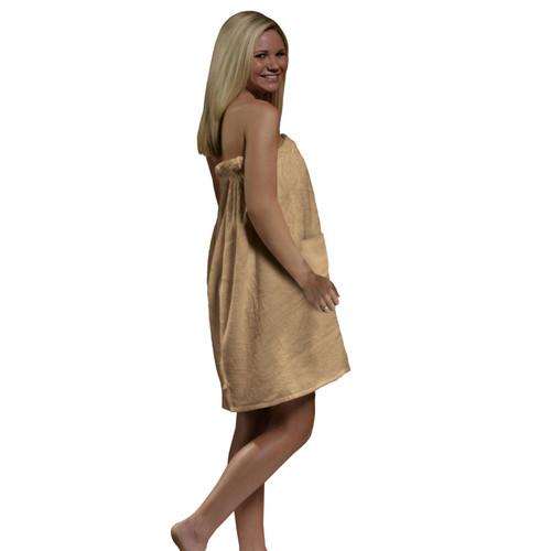 Radiant Sauna Women's Spa & Bath Terry Cloth Towel Wrap - Tan
