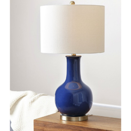 Safavieh Lighting 27.5-inch Jayne Three Sphere Glass Navy Table Lamps (Set of 2)