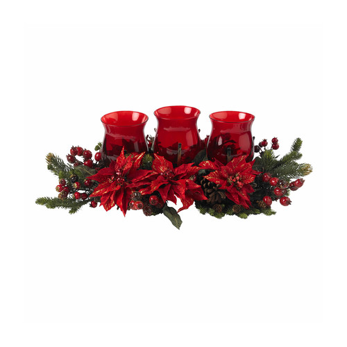 Nearly Natural Home Accent Poinsettia And Berry Triple Candleabrum