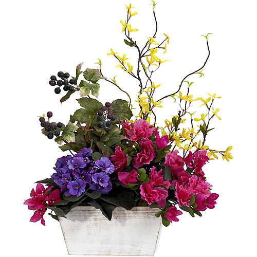 Nearly Natural 21 in. H Assorted Mixed Floral with Azalea and White Wash Planter Silk Arrangement