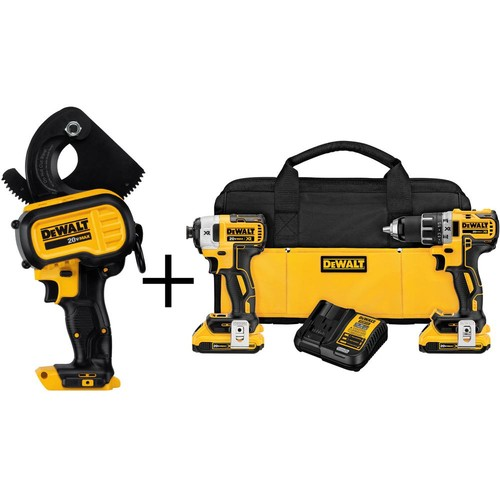 DEWALT 20-Volt MAX Lithium-Ion Cordless Cable Cutting Tool (Tool-Only) with Bonus 20-Volt XR Brushless Combo Kit (2-Tool)