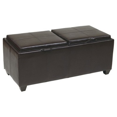 Storage Ottoman with Dual Trays and Seat Cushions Espresso - Office Star