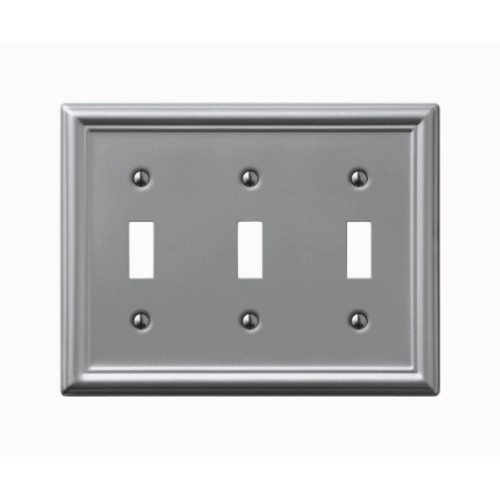 Amerelle 3 Toggle Brushed Nickel Chelsea Wall Plate (149TTTBN)