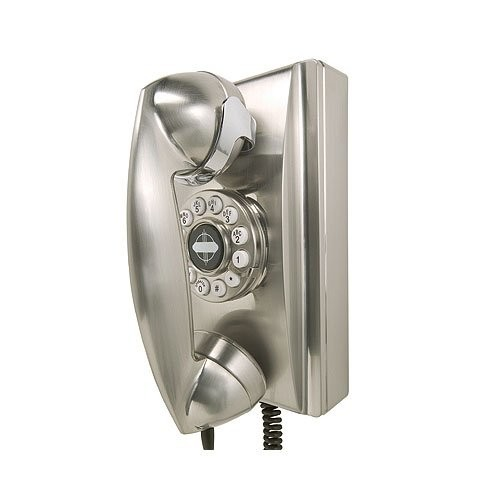 Crosley CR55-BC Wall Phone with Push Button Technology, Chrome [Chrome]