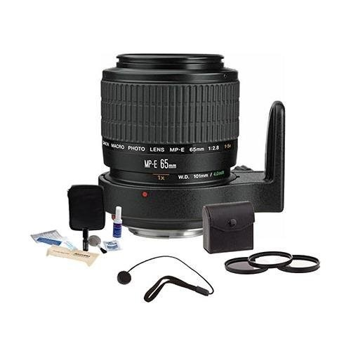 Canon MP-E 65mm f/2.8 1-5x Macro Photo Manual Focus Telephoto Lens Kit, USA with Tiffen 58mm Photo Essentials Filter Kit, Lens Cap Leash, Professional Lens Cleaning Kit,