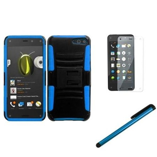 Insten Black/Sky Blue Side Stand Cover Case With Holster+Screen Protector+Stylus For Amazon Fire Phone