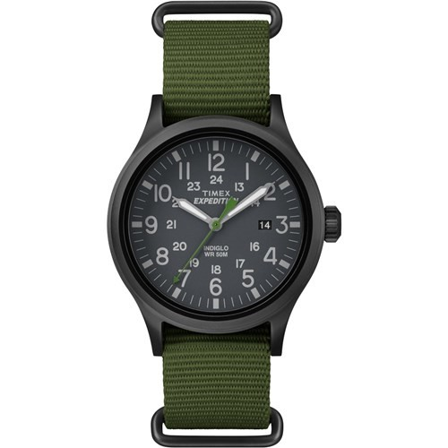 Timex Men's Expedition Scout Watch, Green Nylon Slip-Thru Strap
