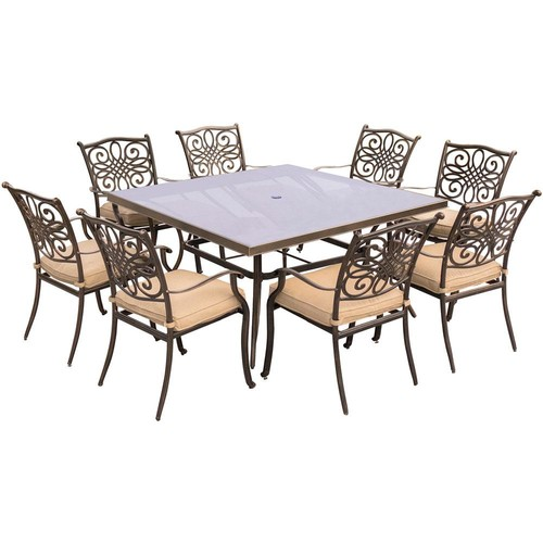 Hanover Traditions 9-Piece Aluminum Outdoor Dining Set with Square Glass-Top Table with Natural Oat Cushions