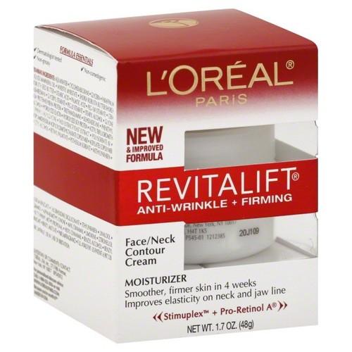 L'Oreal RevitaLift Moisturizer, Anti-Wrinkle + Firming, Face/Neck Contour Cream, 1.7 oz (48 g)