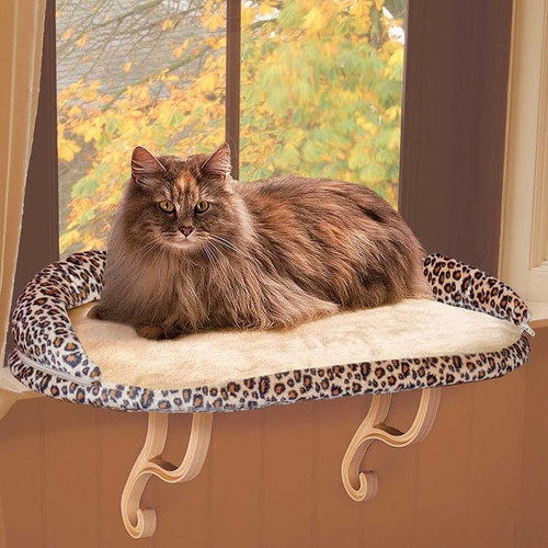 K&H Pet Products Deluxe Kitty Sill with Bolster Leopard 14