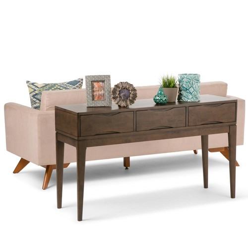 Simpli Home Harper Walnut Brown Storage Console Table