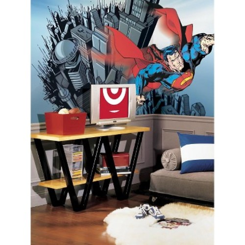RoomMates Superman Chair Rail Prepasted Mural 6' x 10.5' - Ultra-strippable