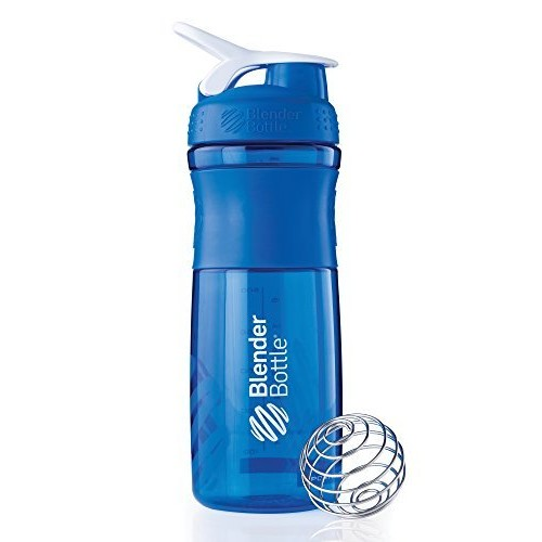 BlenderBottle SportMixer Tritan Grip Shaker Bottle, Blue/White, 28-Ounce [Blue/White, 28 Ounce]