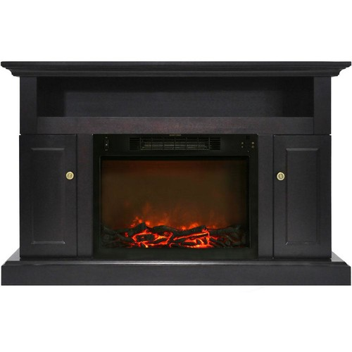 Cambridge Sorrento Electric Fireplace with 1500-Watt Log Insert and 47 in. Entertainment Stand in Black Coffee