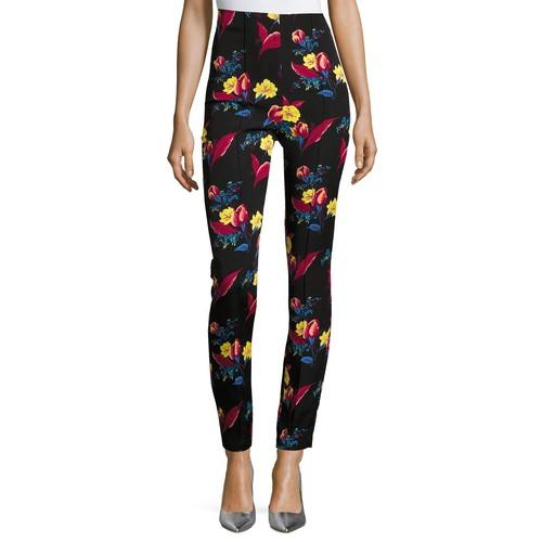 DIANE VON FURSTENBERG High-Waisted Skinny Pants, Black Floral