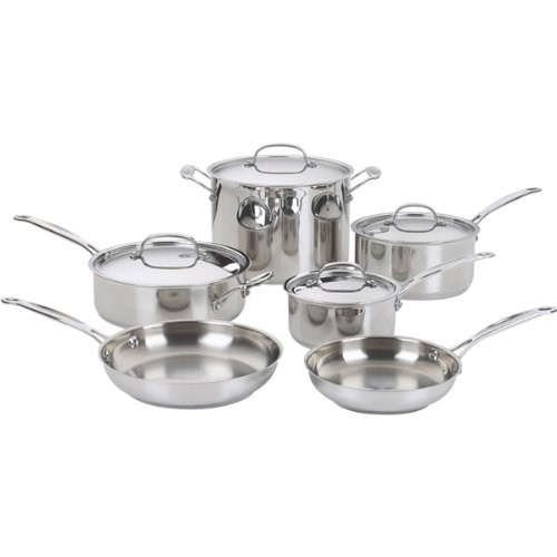 Cuisinart 10-piece Chef's Classic Cookware Set (10-piece, silver)