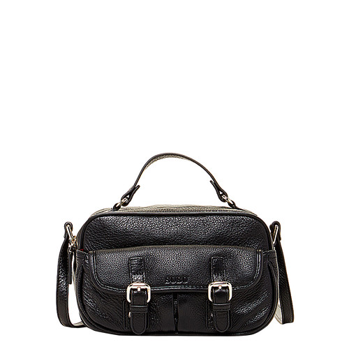 The Sierra Leather Crossbody Black Pockets Bag