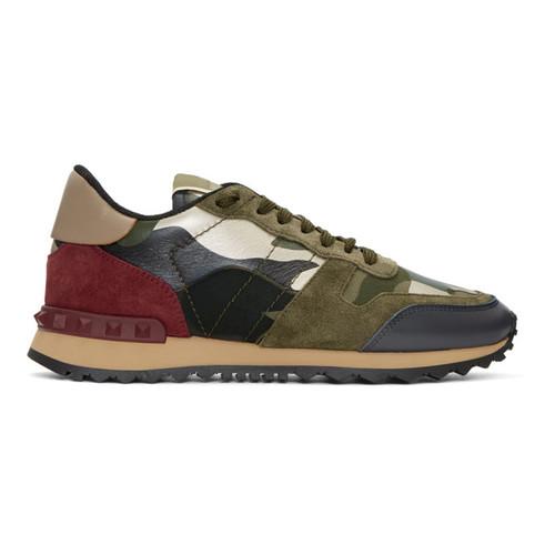 VALENTINO Green & Red  Garavani Camo Rockrunner Sneakers