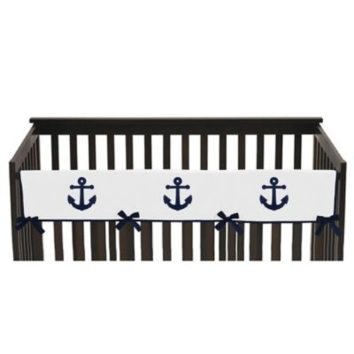 Sweet Jojo Designs Anchors Away Long Crib Rail Guard Cover in Navy/White