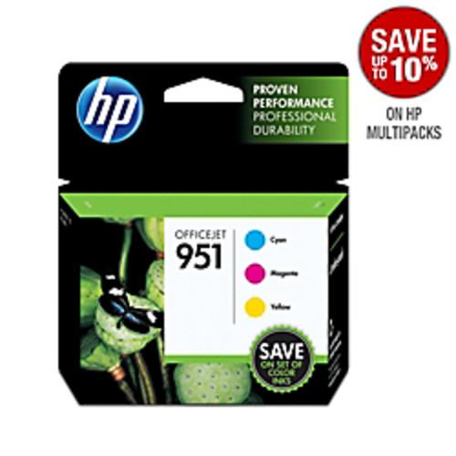 HP 951 Cyan, Magenta & Yellow Original Ink Cartridges, 3 Pack (CR314FN)