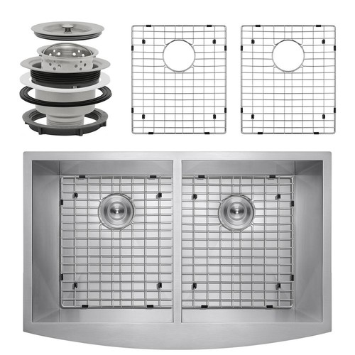 AKDY Handcrafted All-in-One Farmhouse Apron Front Stainless Steel 33 in. x 22 in. x 9 in. Double Bowl Kitchen Sink