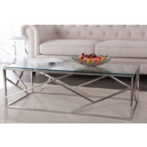 Baxton Studio Fiona Stainless Steel Coffee Table with Glass Top